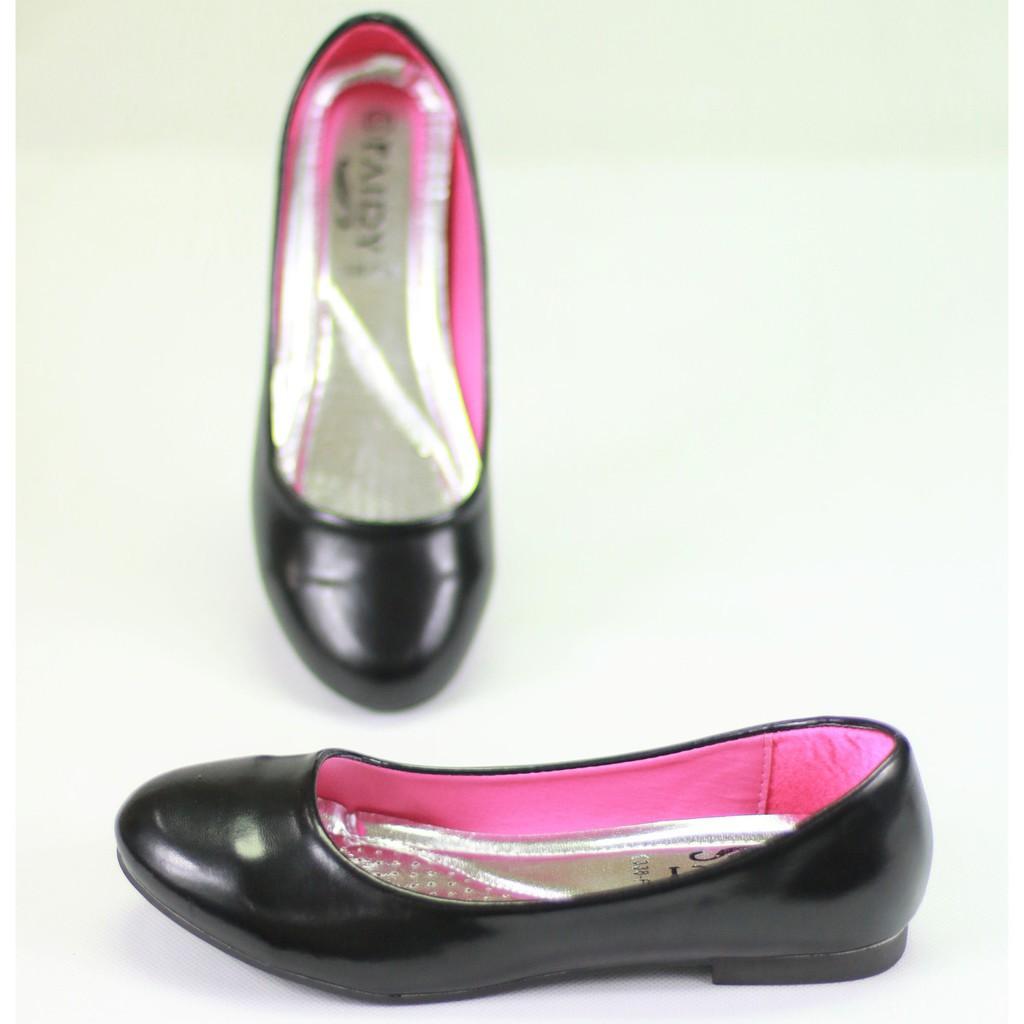 รองเท้าคัชชู⌵รองเท้าสลิปออนผู้หญิง รองเท้า 1338-1,1A,1B,F1,F1A,F1B รองเท้าคัชชูนักศึกษา รองเท้าคัชชูส้นแบน  สีดำ FAIRY
