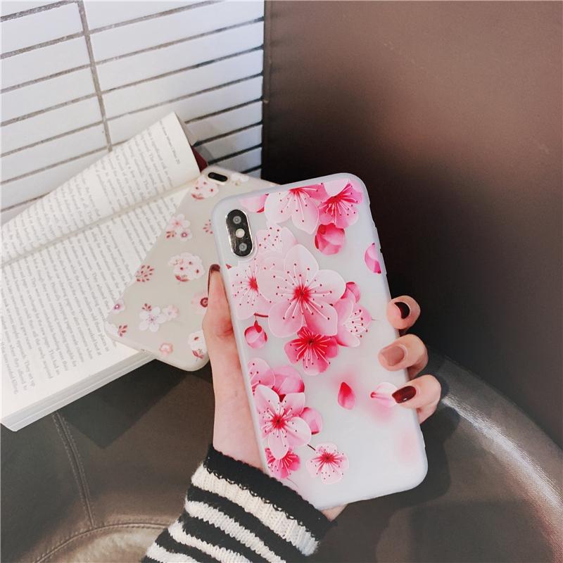 เคส iphone 12 11 Pro MAX Mini SE 2020 XS MAX XR XS X 8 7 6S 6 Plus Peach blossom chrysanthemum Skin-friendly Soft Tpu เคสไอโฟน case iphone เคสซิลิโคน iphone โทรศัพท์มือถือ apple iphone tpu case เคสซิลิโคน เคสไอโฟน tpu เคสโทรศัพท์