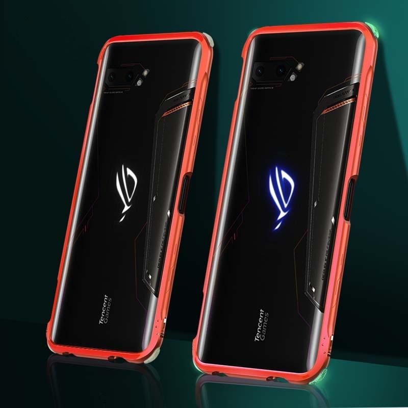 เอซุสrog2เปลือกโทรศัพท์มือถือส่องสว่างROG2กรอบโลหะเกมโทรศัพท์มือถือphone rog2Prodigalตารุ่นที่สองแขนป้องกันเต็มขอบบางถุง