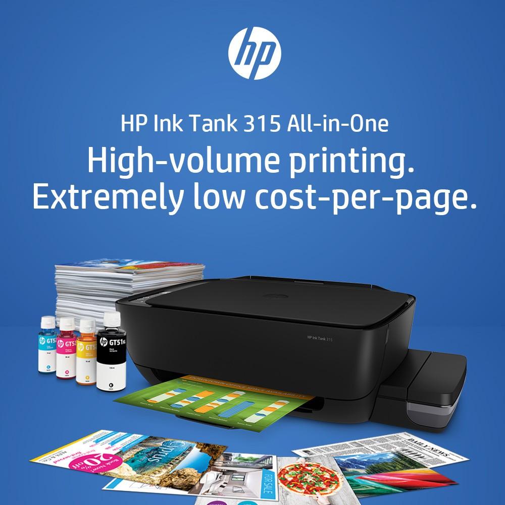 [แลกรับหมึกฟรีอีก 1 ขวด] เครื่องพิมพ์ HP INK TANK 315 AIO -----[+ หมึกแท้ 1 ชุด]