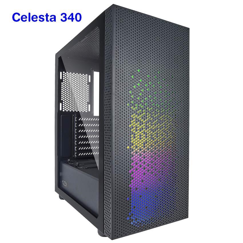 เคสคอมพิวเตอร์ ARGB ราคาจับต้องได้ AZZA ATX Mid Tower Tempered Glass Gaming Case CELESTA 340 - Black * ไม่มีพัดลม *