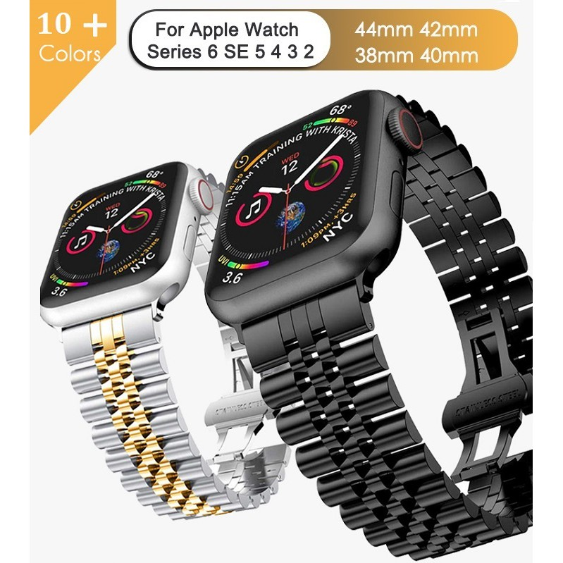 Apple watch Strap Premium Stainless Steel Applewatch series 6 5 4 3 2,Apple watch SE size 38mm,40mm,42mm,44mm Watchband, doule color Apple watch 6 strap