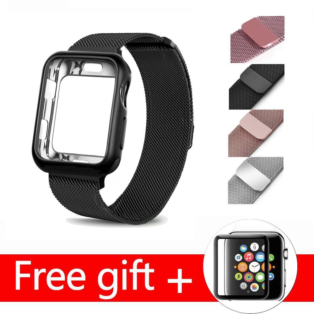 สาย applewatch สายนาฬิกา applewatch Milanese สายรัดข้อมือสแตนเลสสำหรับ Apple Watch Series 6 SE 5 4 3 2 1 Metal strap + T