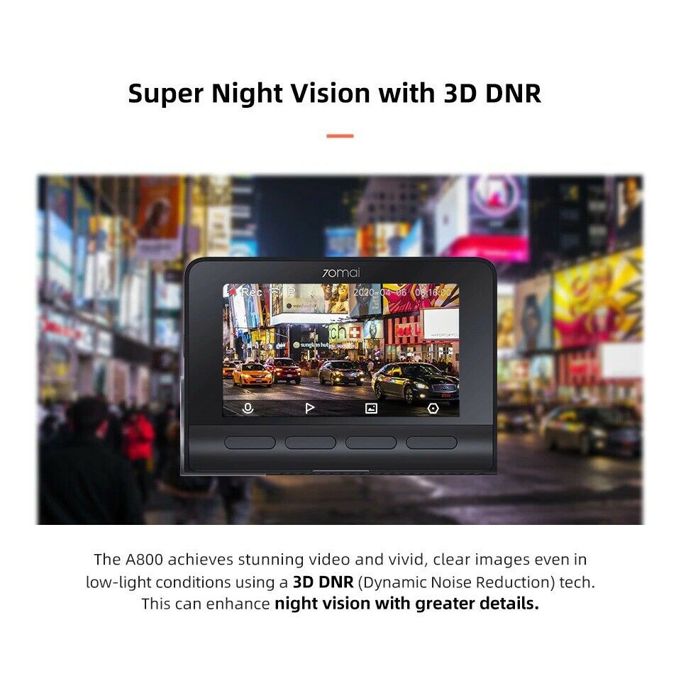 Xiaomi 70mai A800 GPS 4K Smart Dash Cam DVR การบันทึกวิดีโอในรถยนต์ Global Dashcam