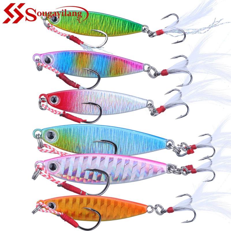 Spoon Lure Metal Jig Jigbait 5PCS Deep sea Fishing Hook Spinner baits 80-180G
