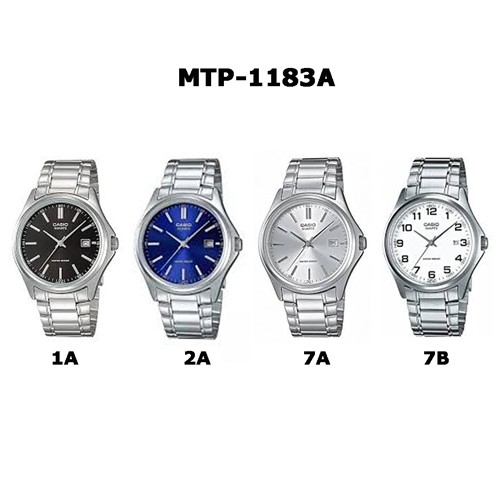 Casio นาฬิกาข้อมือผู้ชาย สายสแตนเลส รุ่น MTP-1183A,MTP-1183A-1A,MTP-1183A-2A,MTP-1183A-7A,MTP-1183A-7B