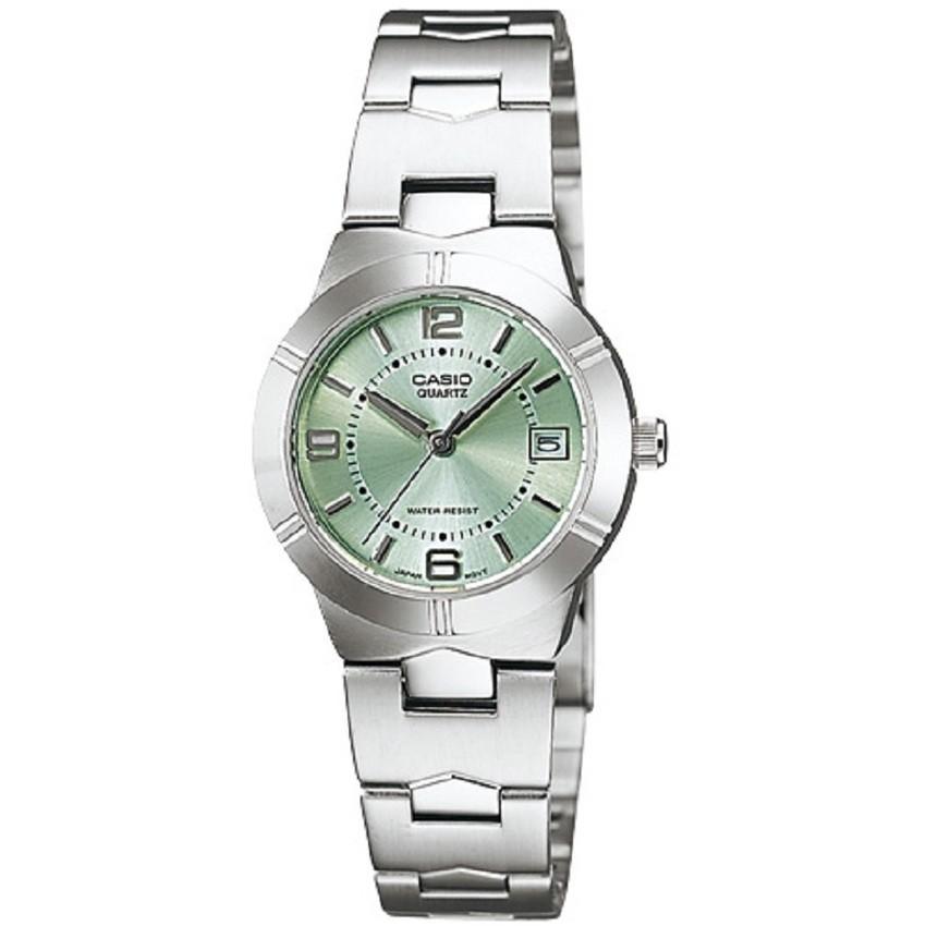 Casio นาฬิกาข้อมือผู้หญิง สายสแตนเลส รุ่น LTP-1241D-3ADF - สีเงิน/เขียว