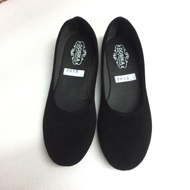 ✠┋36-44 รองเท้าคัชชูส้นเตี้ย กำมะหยี่สีดำ ใส่เรียนใส่ทำงาน พื้นเรียบ ดำขน รองเท้านักศึกษา