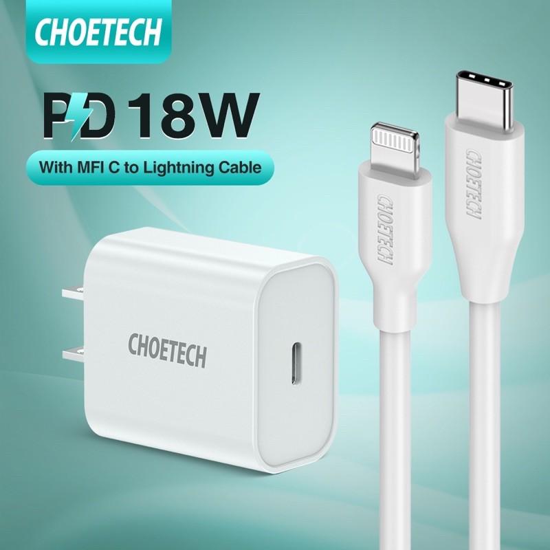 [CHOETECH] หัวชาร์จเร็ว 18w หัวชาร์จ type C PD 18W สายชาร์จไอโฟน iPhone 11 / 11Pro / 11 Pro Max