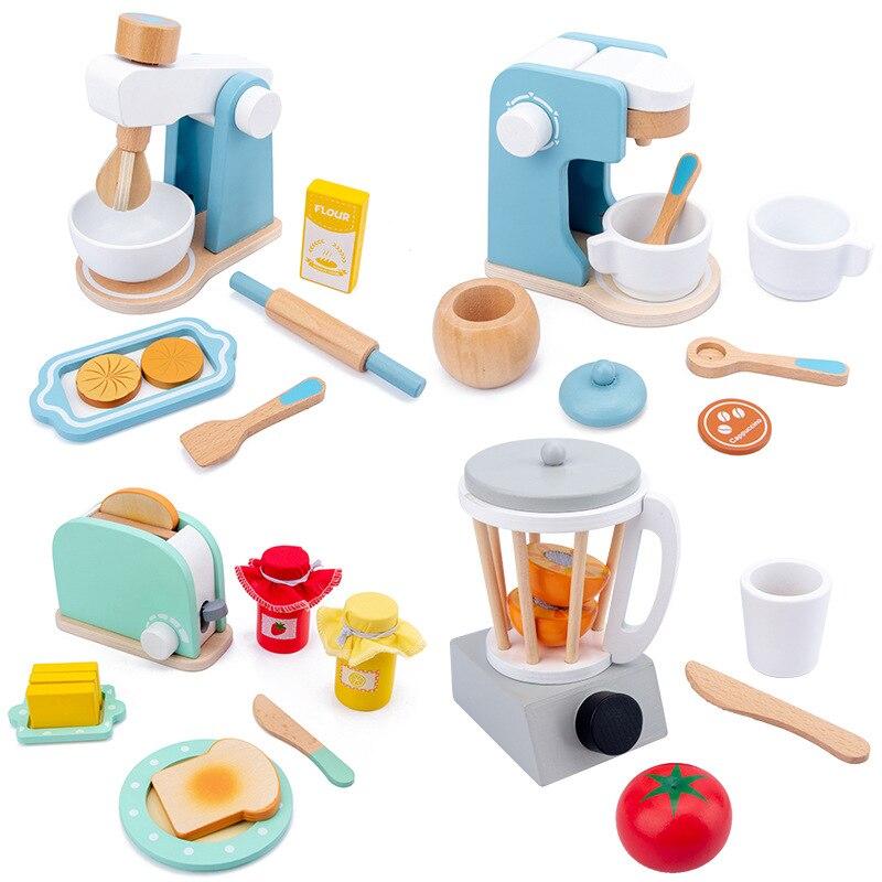 DIYของเล่นไม้เล่นแกล้งทำเป็นห้องครัวกาแฟเครื่องทำอาหารชุดของเล่นเพื่อการศึกษาเด็กเด็กหญิง xUpZ