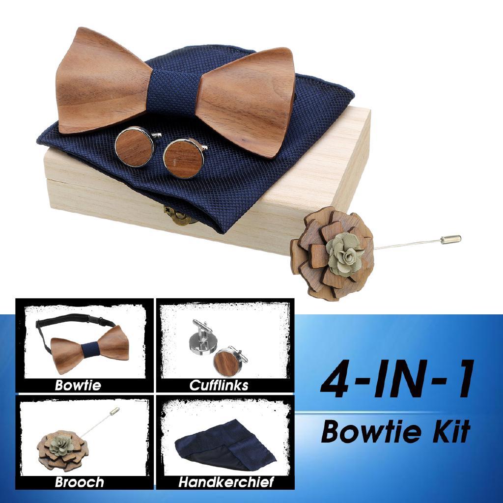 New men/'s pre-tied bowtie /& hankie set leopard polyester wedding party brown