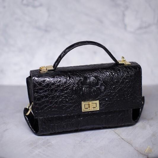 SALE!! ราคาโปรโมชั่นถูกสุด!!! กระเป๋าถือพร้อมสายสะพาย อะไหล่สีทอง หนังจระเข้แท้ 100% (W120D)