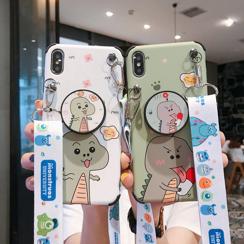 Lovely Dinosaur Case IPhone X XS Max XR Stand Holder Cover IPhone 6 6S 7 8 Plus with La
