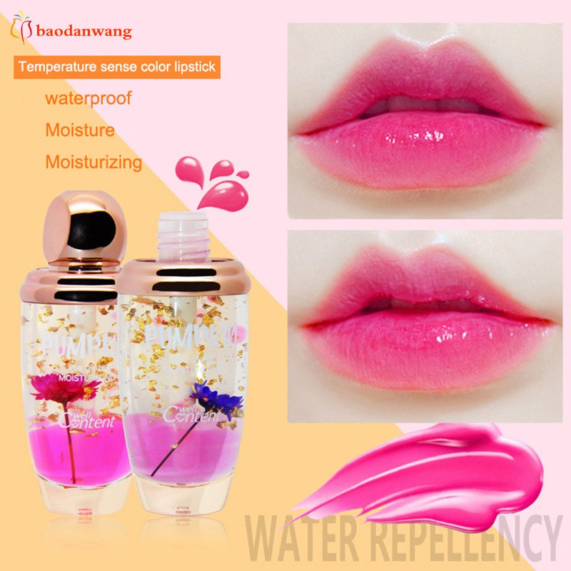 Fashion Lips Make Up Waterproof Long Lasting Lip Gloss Tint Change Color Baby Lips Transparent Flower Jelly Makeup Kit 7687 Without Return Beauty Essentials Beauty & Health