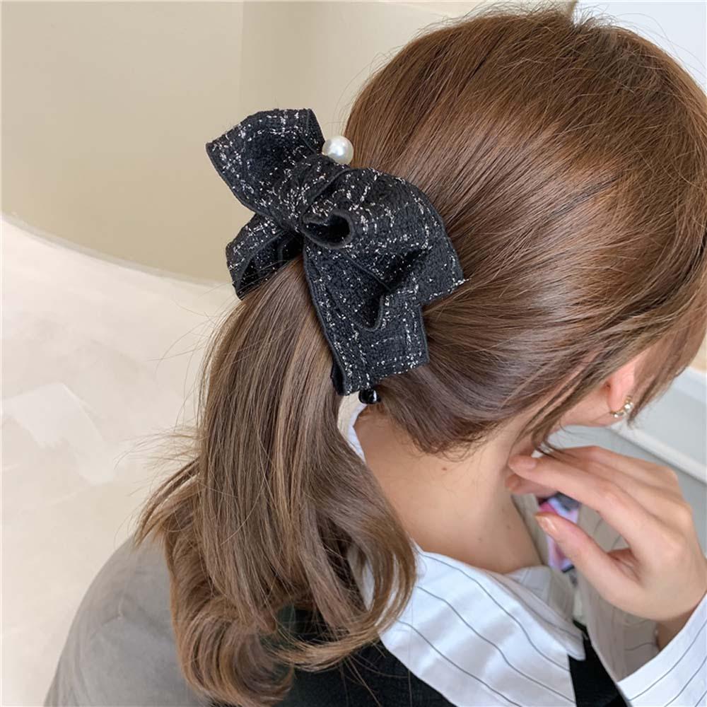 Details about  /Women Korean Elegant Bow Hairpin Banana Clip Vertical Clip Ponytail Holder