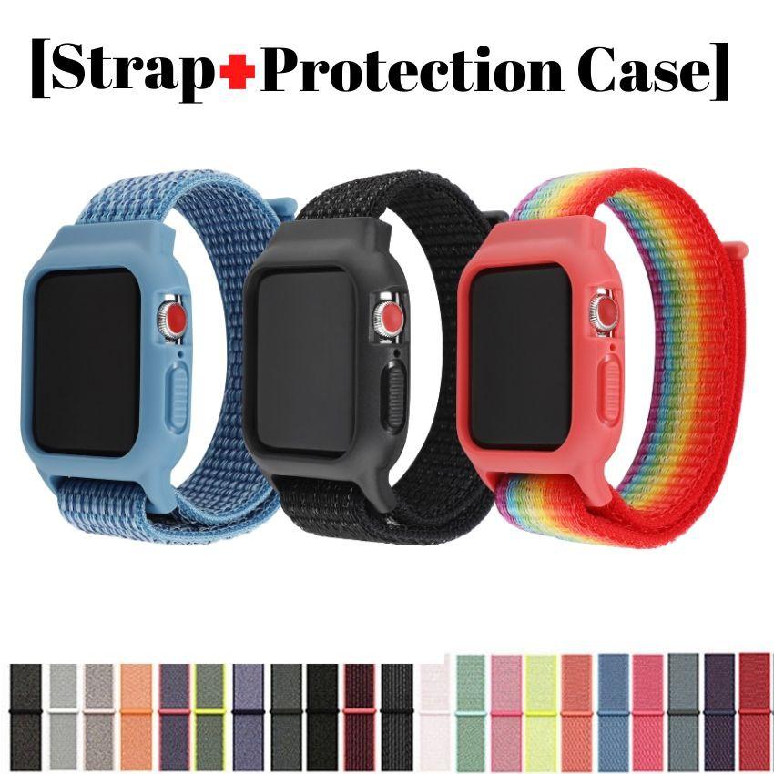 Case เคสป้องกัน + สายคล้องคอ Watch สายนาฬิกาไนล่อนในตัวสำหรับ Apple Watch ซีรีส์ 5 4 3 2 1, สายรัด iWatch 38mm / 42mm / 40mm / 44mm (AONEE))