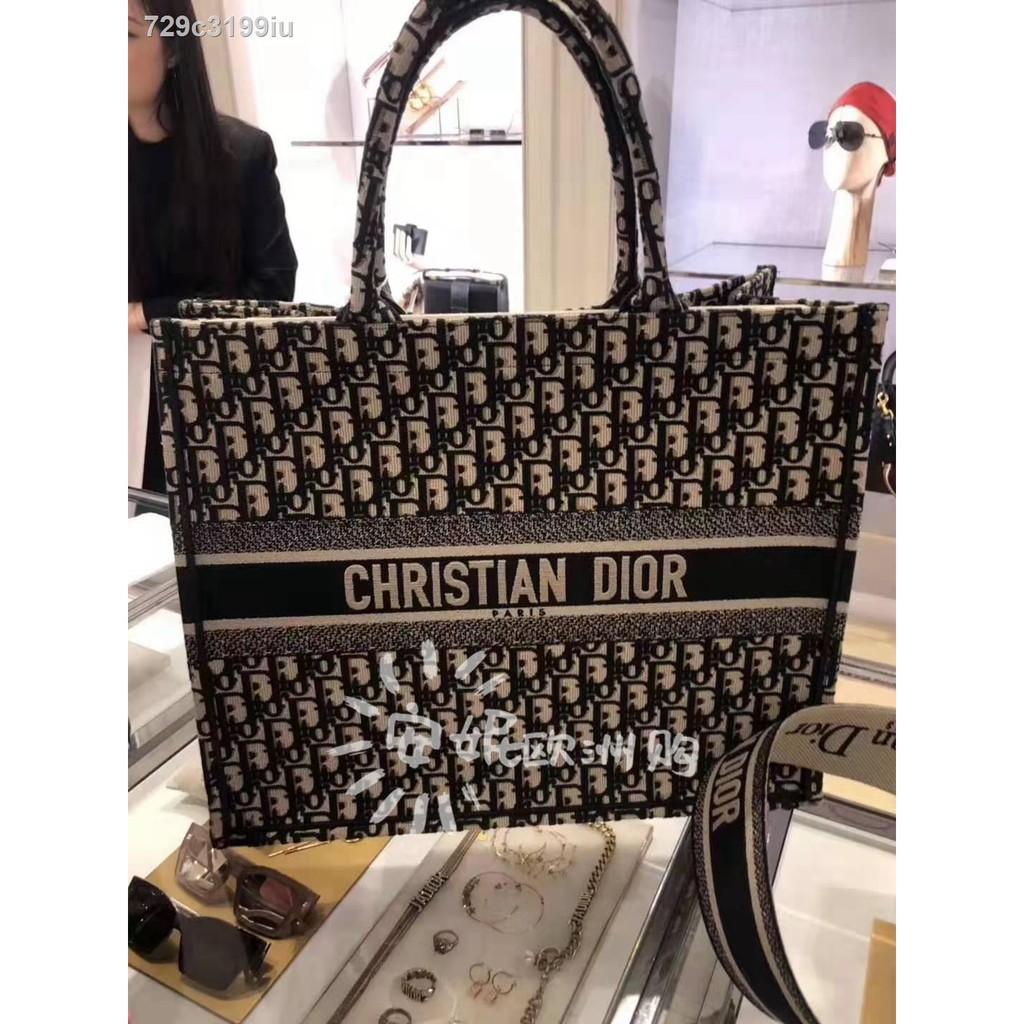 ถุงร้อน◎กระเป๋าถือ Dior / BOOK TOTE Canvas Embroidered Beach Bag Shopping Mother Shoulder Handbag