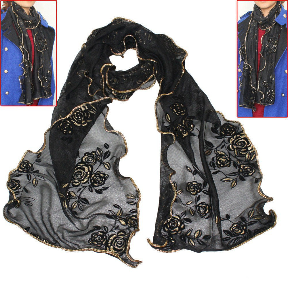 Ladies Flower Motif Scarf