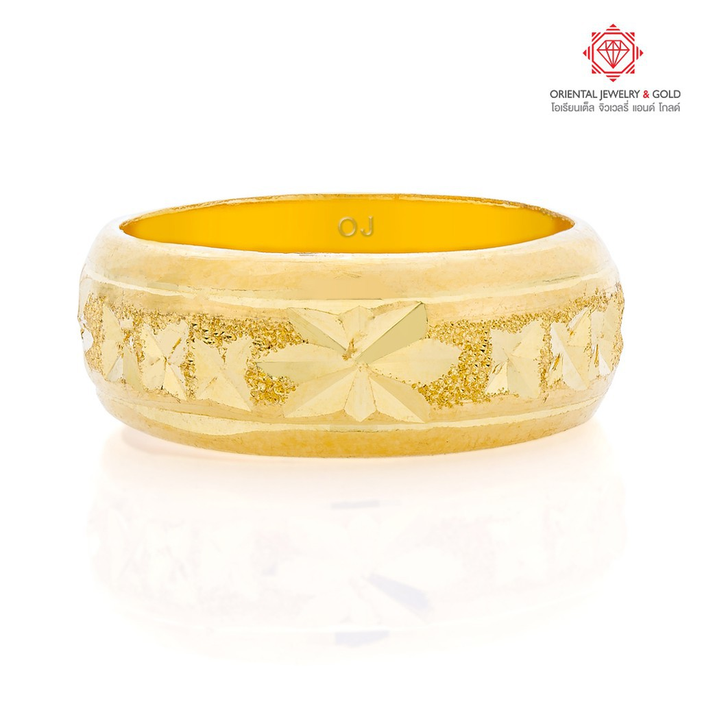 ราคาพิเศษ◑✑⊙[ผ่อน 0%] OJ GOLD แหวนทองแท้ นน. 1 สลึง 96.5% 3.8 กรัม ปอกมีดตัดลาย ขายได้ จำนำได้ มีใบรับประกัน แหวนทอง