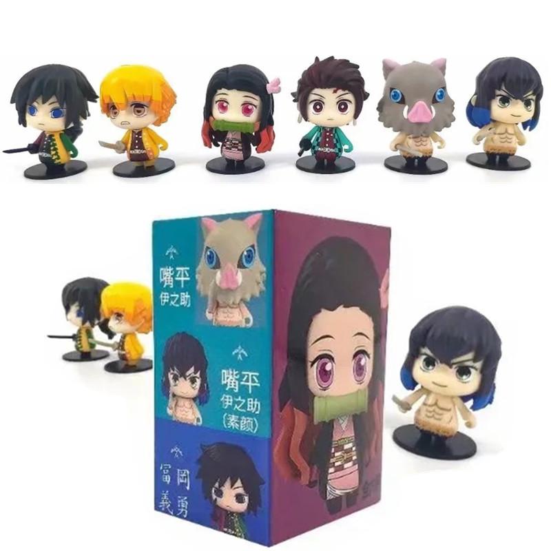 6pcs/set Demon Slayer ดาบพิฆาตอสูร Kimetsu No Yaiba model Tomioka Yoshiyuki Nezuko Tanjiro Q Version Box Egg Figure