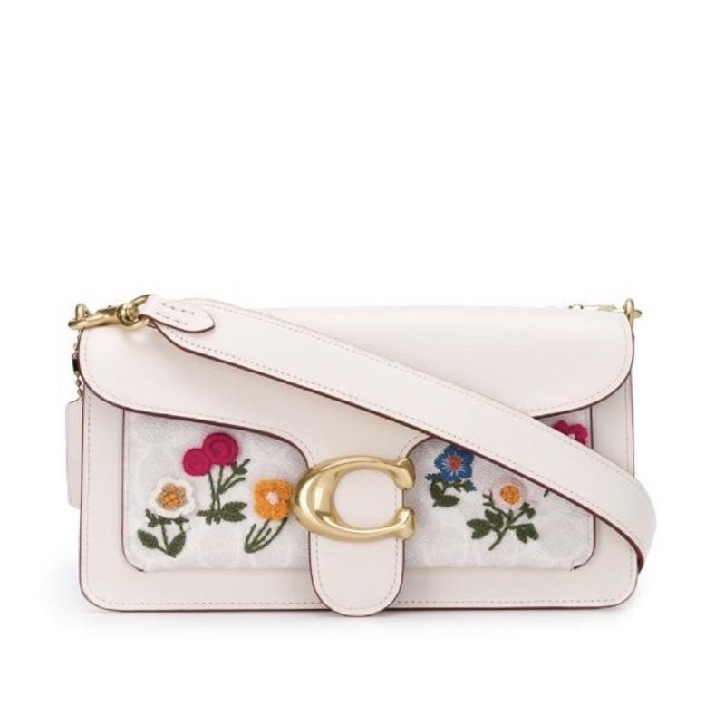 Coach In Signature กระเป๋าสะพายไหล่ผ้าแคนวาสปักลายดอกไม้ 26 ชิ้น