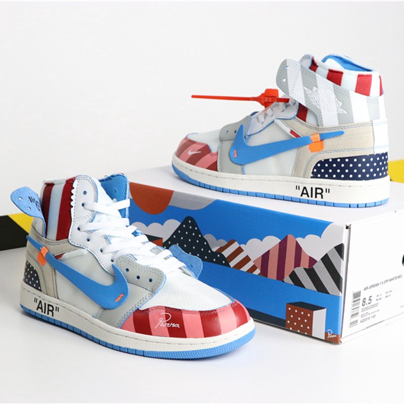 consegna veloce miglior fornitore acquistare Air Jordan 1 OFF WHITE A J1 OW รองเท้าผ้าใบแฟชั่น | Shopee Thailand