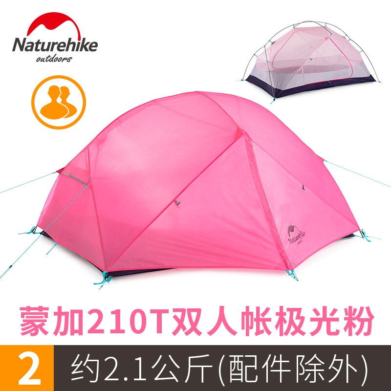Naturehike  Pink Mongar Camping Tent 2 Persons Ultralight 210T Polyester Plain Aluminum Alloy Pole Double Layer Outdoor