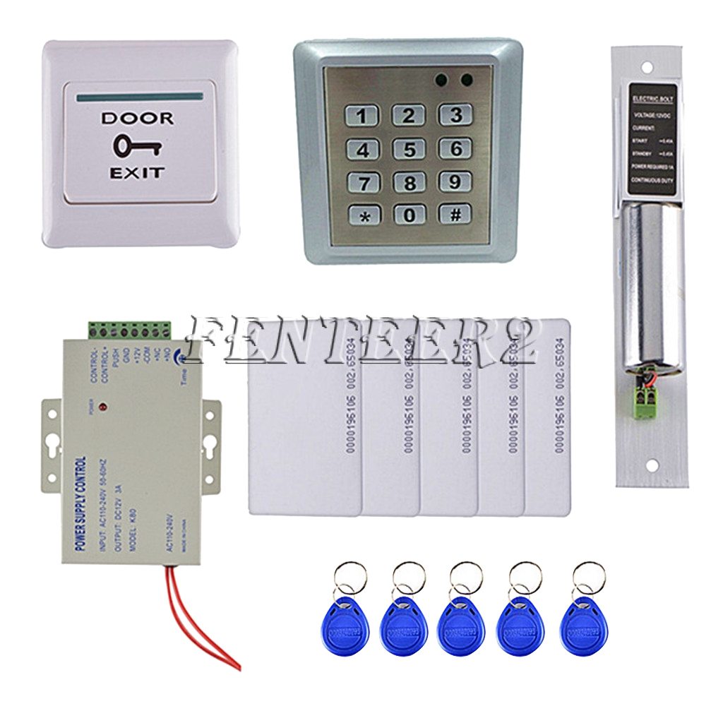 RFID Card Door Access Control System with 5 Key Cards and 5 Keyfobs Home
