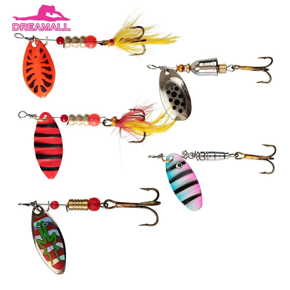 Metal Spinner Spoon Hard Baits Sequins With Feather Treble Hook Fishing Lure