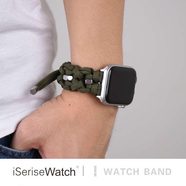 สาย applewatch ใช้ได้กับ Apple Watch รุ่นที่ 5 iwatch SE สาย applewatch 6 สาย 1/2/3/4 รุ่นกลางแจ้งไนลอนถักเชือกป่าน 38/4