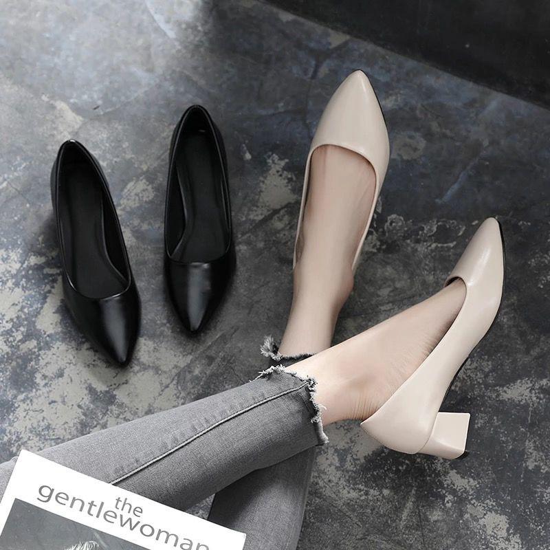 รองเท้าคัชชู หัวแหลม🌷รองเท้าคัทชูผู้หญิง🌷รองเท้าคัชชูเปิดส้น🌷รองเท้าทำงานผู้หญิง รองเท้าส้นสูงหัวแหลม ทันสมัยทรงสวย
