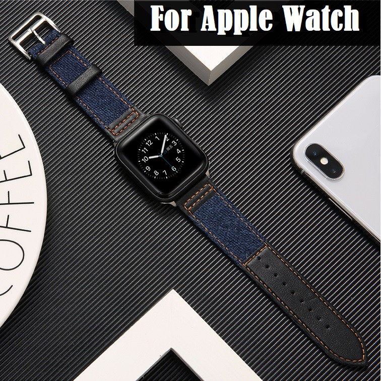 สายนาฬิกา Apple Watch Strap Leather+Denim สาย Applewatch Series 6 5 4 3 2, Apple Watch SE size 38mm 40mm 42mm 44mm stainless steel สายนาฬิกาข้อมือ for apple watch Series 6, Series 5,Series 4,Series 3 Strap