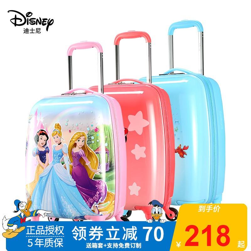 ♘✢ กระเป๋าเดินทางพกพา  กระเป๋ารถเข็นเดินทางDisney รถเข็นเด็กกระเป๋าเดินทางสาวการ์ตูนกระเป๋าเดินทางเด็กกระเป๋าเดินทางล้อส