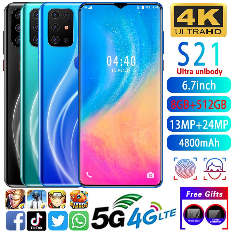 (2020 new hot) s 21 สมาร์ทโฟน 6 . 7 นิ้ว 4 g/5 g 8gb+512 gb android 10 . 0 นิ้ว