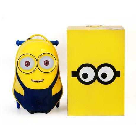 ชายกระเป๋าเดินทางสีเหลืองเล็ก ๆ น้อย 18 นิ้วเด็กเดินทางกระเป๋าเดินทางสกู๊ตเตอร์เด็กชายเด็กวัยหัดเดินกลางแจ้งเด็กการ์ตูน