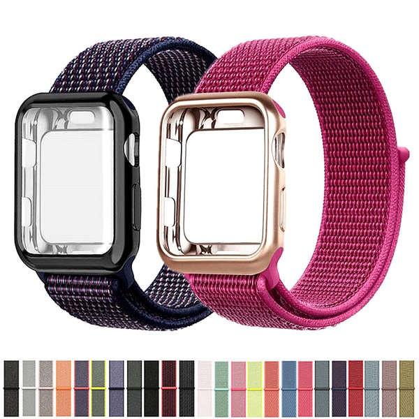 สาย applewatch เหมาะสำหรับ applewatch สายนาฬิกา Apple สายคล้องห่วงไนลอน + เคส iwatch5 / 4/3 รุ่น 40 มม