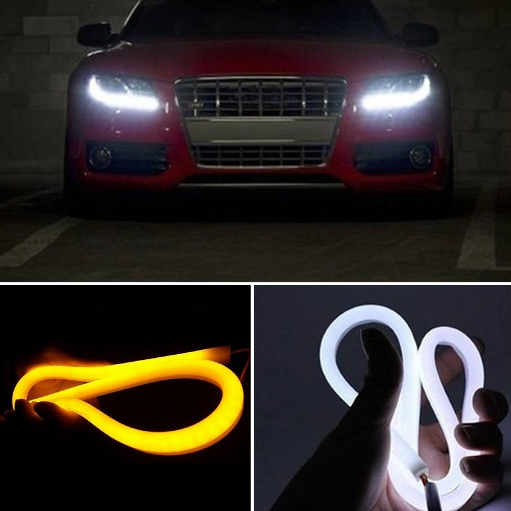 2PCS 60cm Soft Dual Color Flexible Car LED Strip Tube Light Daytime Running Lights DRL Flexible Strip Tube for Most Cars