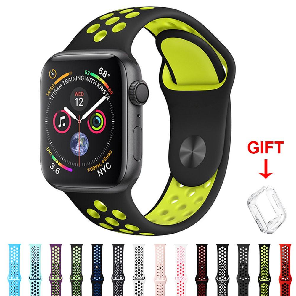 สายซิลิโคนอ่อนสำหรับ Apple Watch Series 6/5/4/3/2/1/SE Breathable Sport Band สำหรับ iWatch 38mm 40mm 42mm 44mm