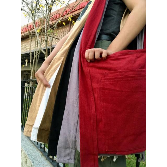 กระเป๋าผ้าย่ามสะพายสีขาว ย่ามแม่ชีผ้าฝ้ายอย่างดี ย่ามเดินทาง กระเป๋าใส่ของไปปฏิบัติธรรม ย่ามชี สังฆทาน