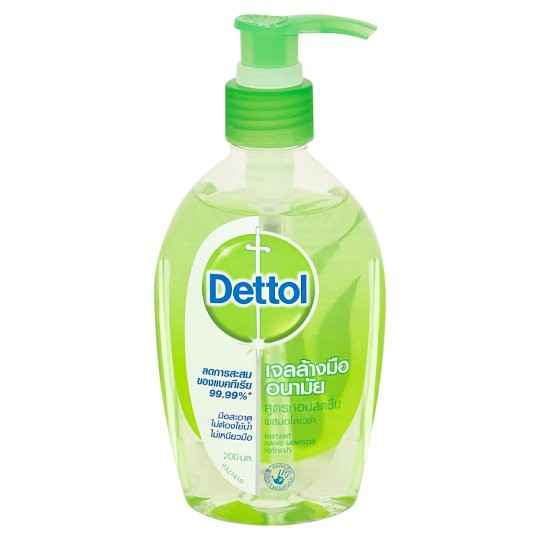 Dettol เจลล้างมืออนามัยแอลกอฮอล์ 70% สูตรหอมสดชื่นผสมอโลเวล่า ขนาด 200 มล