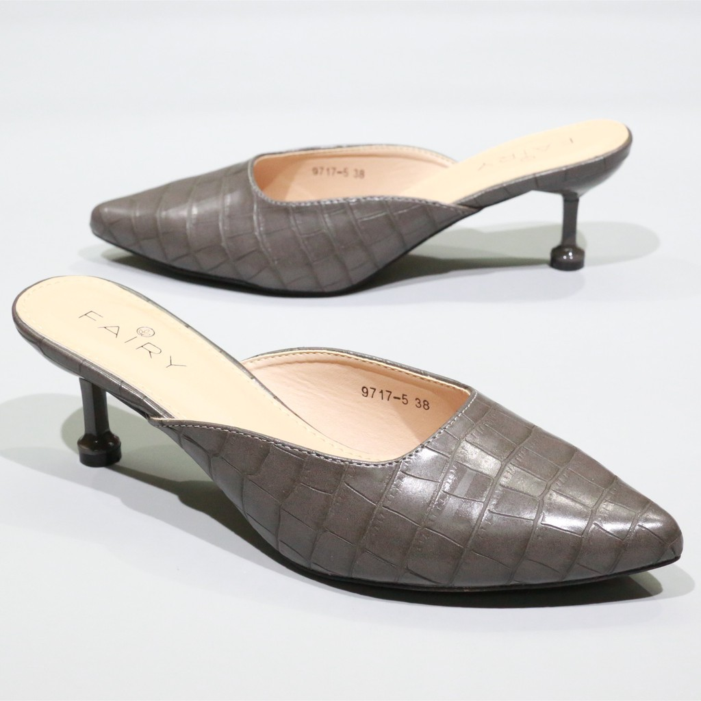 """✅🔥💥◐◎9717-5 คัชชูเปิดส้นสูง 2.5""""  รองเท้าคัชชูหัวแหลมเปิดส้น รองเท้าส้นสูง แฟชั่น FAIRY"""