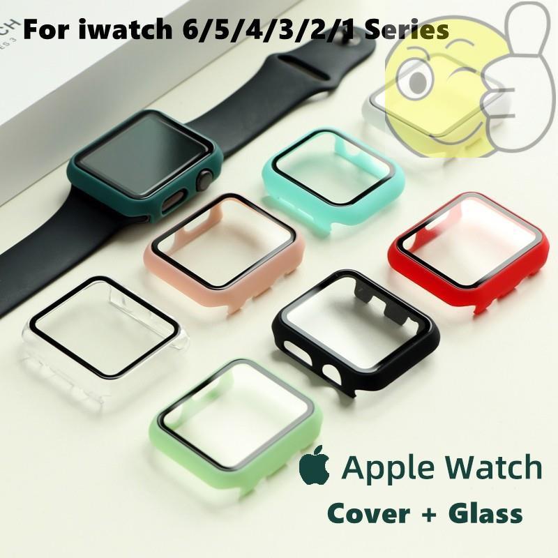 [pc Case + กระจกนิรภัย] เคสฟิล์มกันรอยนาฬิกา Apple Watch Case 6 Se 5 4 3 2 1 40mm 44mm 38m 40mm สําหรับ Apple Watch Case 6 Se 5 4 38m 40mm