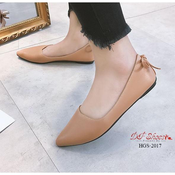 รองเท้าส้นเตี้ย รองเท้าคัชชูส้นเตี้ย สีกากี