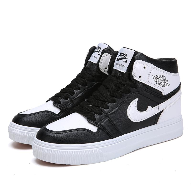 รองเท้า Nike Air Jordan Nike Sb  Off White สันทนาการ ปัก ความช่วยเหลือสูง รองเท้าคัชชู ผู้หญิง สาวอวบ กระเป๋า หนังแท้
