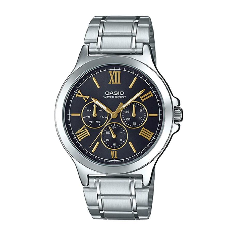 Casio Standard นาฬิกาข้อมือผู้ชาย สายสแตนเลส รุ่น MTP-V300D,MTP-V300D-1A2 - สีเงิน-ดำ