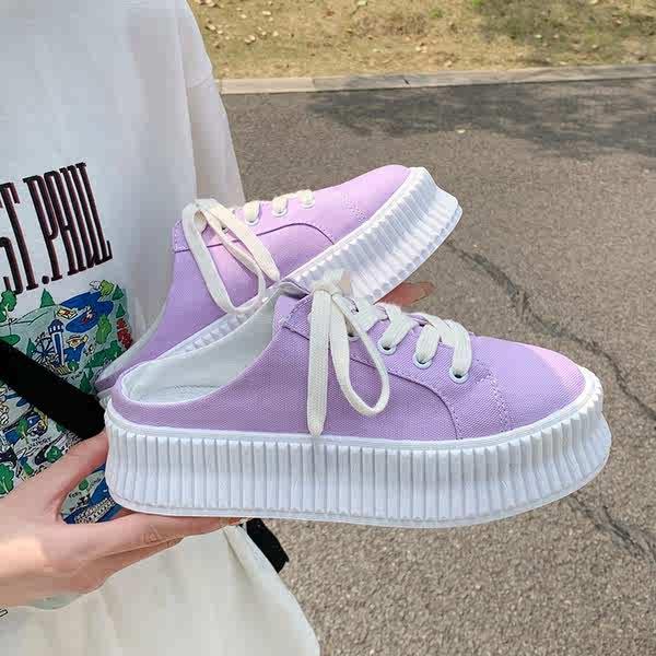 รองเท้าคัชชูเปิดส้นผู้หญิง รองเท้าคัชชูเปิดส้น เพลงเค้กหนา, รองเท้าผ้าใบครึ่ง, เด็ก 2021, ถุงฤดูร้อนใหม่, รองเท้าแตะครึ่