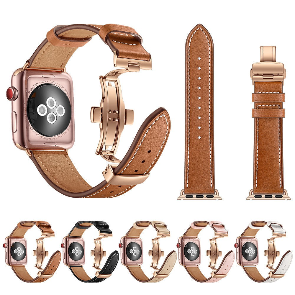 สายนาฬิกาข้อมือหนังสําหรับ Apple Watch Band Series 6 Se / 1 / 2 / 3 / 4 / 5