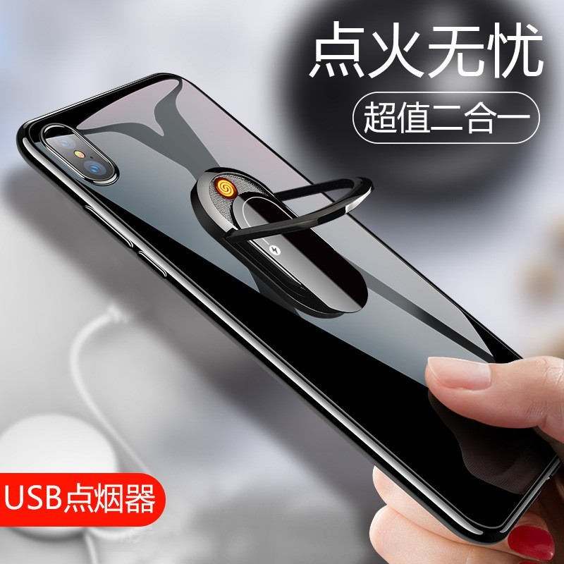 Phone holder♈Mobile phone ring support USB metal car magnets high-grade cigarette artifact trill lighter individuality creative buckles wind apple multi-function send following from her boyfriend