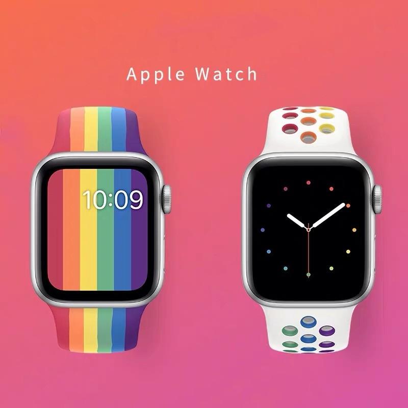 พร้อมส่ง!สายนาฬิกาข้อมือ(สีรุ้ง) สำหรับ  Apple Watch SE band Series 6/5/4/3/2/1 ขนาด 38mm/40mm/42mm/44 mm