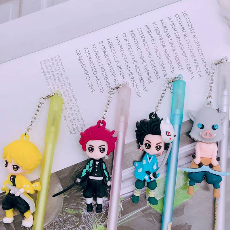 เจลสีน้ำเงิน Demon Slayer Kimetsu No Yaiba Kamado Tanjirou Agatsuma Zenitsu Hashibira Inosuke ปากกา ปากกาเจลสีน้ำเงิน Action Figure Model Toys Pendant Pens Stationery Cartoon Gel Pens Novelty Gel Pen Student Stationery